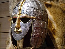 Colour photograph of a modern replica of the Sutton Hoo helmet.