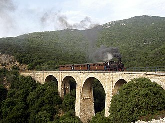 Pelion - A Tubize narrow gauge (600 mm) locomotive hauls a charter train from Ano Lechonia to Miliés on the Pelion Railway