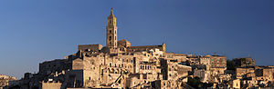 Matera Cathedral - Matera Cathedral, panoramic view with the Sassi.