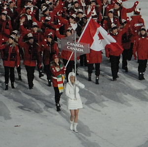 Clara Hughes leading the Canadian athletes int...