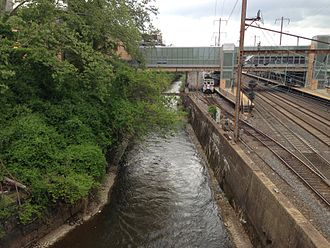 Assunpink Creek - The Assunpink Creek at the Trenton Transit Center