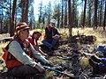 2014. Forest entomologists L-R Bill Schaupp (Southwest Oregon Service Center), Lia Spiegel and Mike Johnson with the Blue Mountains Service Center. Western bark beetle field meeting. Blue Mountains, Oregon. (25271330988).jpg