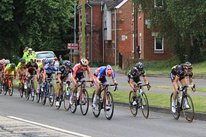 2015 Women's Tour stage 5 - 152 Audrey Cordon and 112 Claudia Lichtenberg are caught by the peloton.JPG