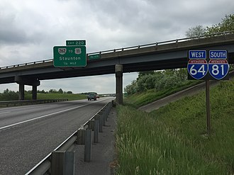Interstate 64 in Virginia - I-81 and I-64 run together in Augusta County.