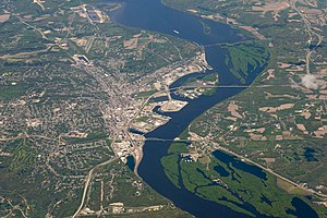 Dubuque, Iowa - Aerial view of Dubuque and surrounding area