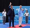 2018-10-18 Karate Boys' -68 kg at 2018 Summer Youth Olympics – Victory ceremony (Martin Rulsch) 10.jpg