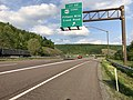 2019-05-17 18 21 15 View east along Interstate 68 and U.S. Route 40 (National Freeway) at Exit 62 (U.S. Route 40 Scenic, Fifteen Mile Creek Road) east of Pratt in Allegany County, Maryland.jpg