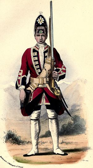 Royal Scots Fusiliers - Uniform of the 21st Regiment of Foot in 1742