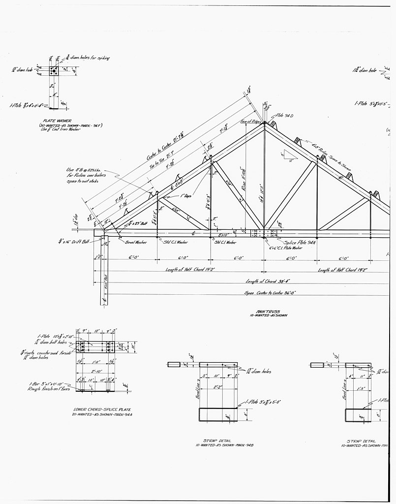 File 29  PHOTOCOPY OF DRAWING OF POWER PLANT  DETAILS OF ROOF TRUSS  BOILER UNIT   Kennecott Copper Corporation  On Copper R   LOC   hhh ak0003 photos 001002p on metal carport plans