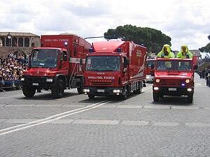 Vigili del Fuoco - Unimog, Iveco Eurocargo, Iveco VM 90 fire apparatus.