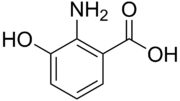 Skeletal formula of 3-hydroxyanthranilic acid