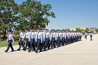 37th Training Wing - USAF Basic Trainees march in formation at Lackland Air Force Base in San Antonio, Texas