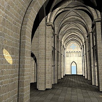 Aulps Abbey - 3D reconstruction of the church