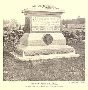 43rd New York Volunteer Infantry Regiment - 43rd New York Infantry Monument, Gettysburg Battlefield.
