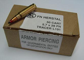 FN 5.7×28mm - L191 cartridge and box