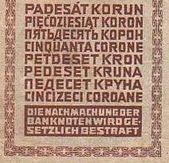 Austro-Hungarian krone - Indication of value in eight languages on a 50 Krone note of 1914