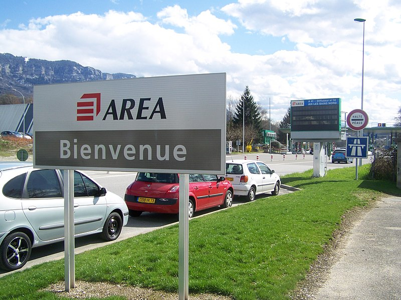 French company AREA welcoming drivers to its motorway A41 at Aix-les-Bains in Savoie.