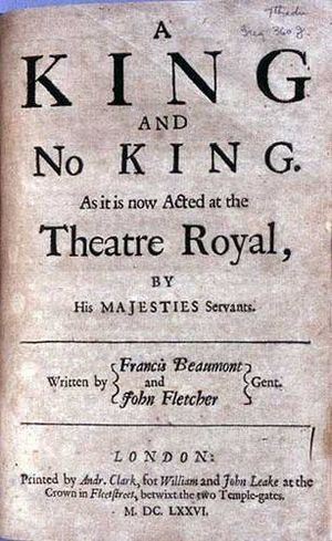 A King and No King - Title page of a 1676 printing of A King and No King by Francis Beaumont and John Fletcher (1619).