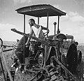 A MEMBER OF KIBBUTZ HAFETZ HAIM PLOUGHING A FIELD. חבר קיבוץ חפץ חיים עובד עם מחרשה בשדות.D592-026.jpg