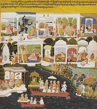 Tulsidas - A Mughal prince visits Tulsidas. Early 18th century Sisodia dynasty painting from Udaipur, Mewar.