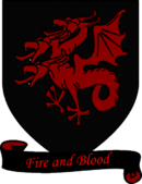 "A coat of arms showing a red three-headed dragon on a black field over a scroll reading ""Fire and Blood."""