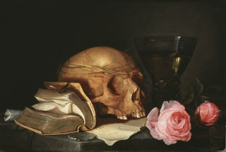 A Vanitas Still-Life with a Skull, a Book and Roses