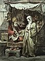 A man selling medicinal drugs to a woman in a bazaar in Cons Wellcome L0002916.jpg