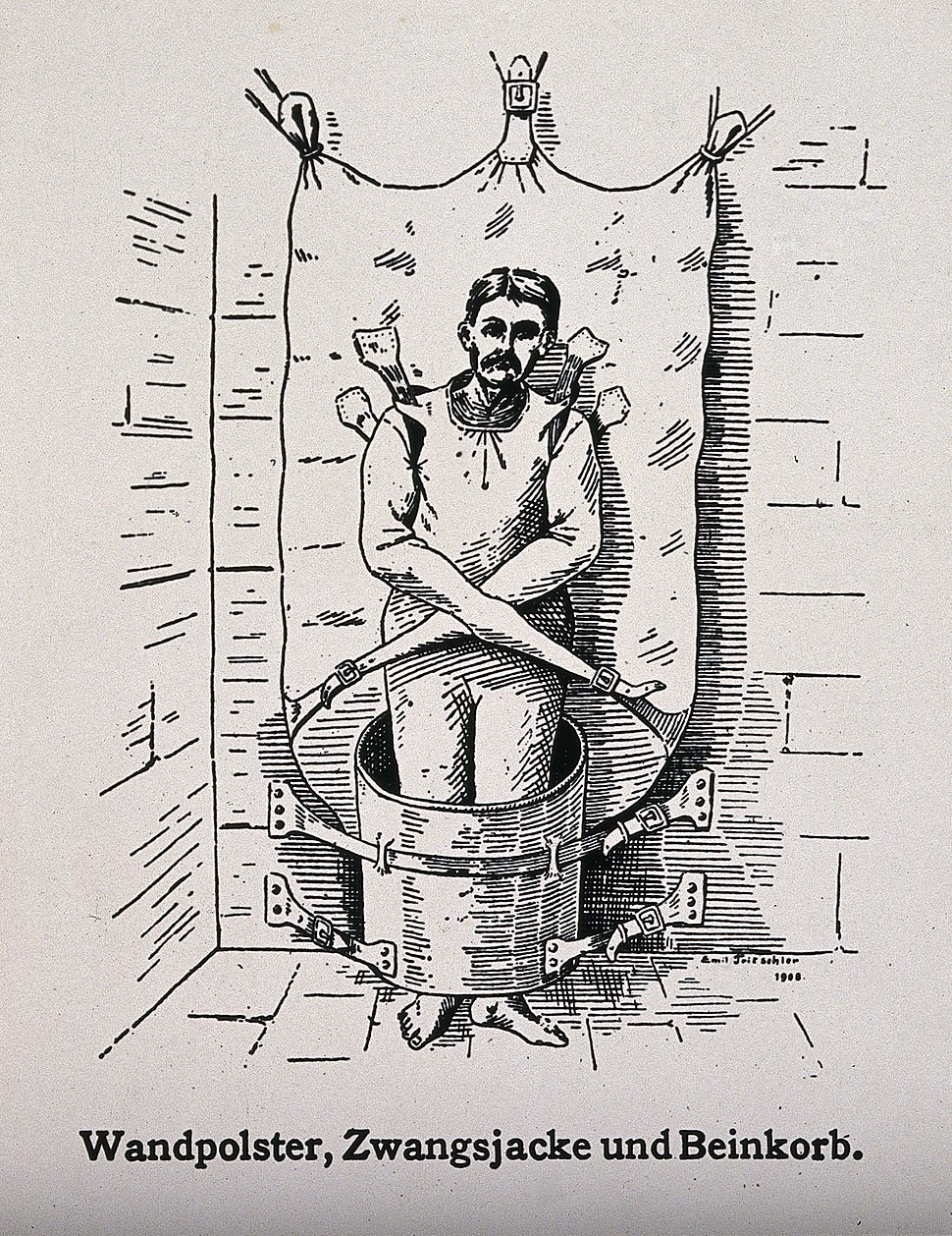 A mentally ill patient in a strait-jacket attached to the wa Wellcome V0016643ER