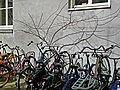 A photo of parked bicycles and shadows on the wall of the Matrozenhof and Hoogte Kadijk; Amsterdam 2013.jpg