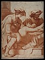 A surgeon opening an abcess on the arm of a reclining man wh Wellcome V0016738.jpg