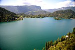 A view from a castle shows the enormous size of Lake Bled, Slovenia.jpg