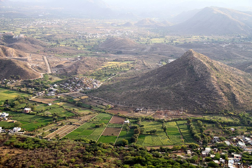 A view of Villages and farms in south Rajasthan India