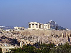 Acropolis of Athens with the Parthenon on top.