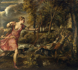 In Titian's later works, the forms lose their solidity and melt into the lush texture of shady, shimmering colors and unsettling atmospheric effects. In addition to energetic brushwork, Titian was said to put paint on with his fingers toward the completion of a painting.