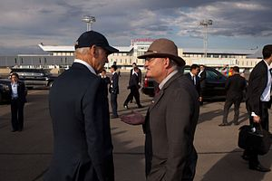 Jonathan Addleton - Vice President Joseph Biden talks with US Ambassador Jonathan Addleton at Ulaanbaatar's Chinggis Khan Airport, Aug. 2011