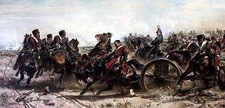 Charge de l'artillerie de la garde impériale à Traktir en Crimée, le 16 août 1855