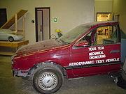 An aerodynamic test vehicle used by mechanical engineers.