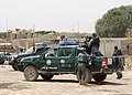 Afghan National Police officers prepare to depart from Shinkai district in Zabul province, Afghanistan, Aug. 27, 2012, for a patrol 120827-N-OH262-926.jpg