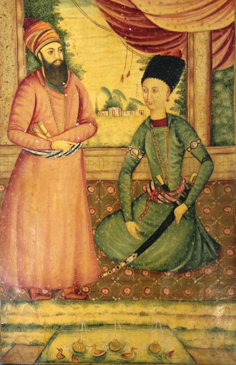 نقاشی از محمدخان قاجار و وزیر ابراهیم کلانتر، ۱۷۹۵-۱۸۰۰.