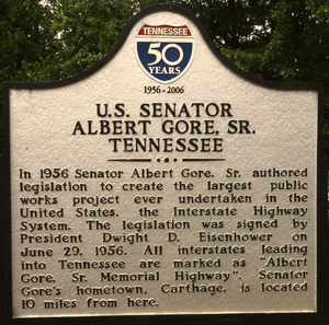 Albert Gore Sr. - Plaque honoring Al Gore Sr. at a rest area along Interstate 40 in Tennessee