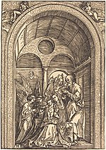 Albrecht Dürer, The Holy Family with Two Angels in a Vaulted Hall, c. 1504, NGA 41296.jpg