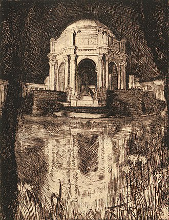 Gertrude Partington Albright - Gertrude Partington Albright, A Structure Brave: Palace of Fine Arts, etching. Published in Cora Lenore Williams' book The Fourth-Dimensional Reaches of the Exposition, 1915.