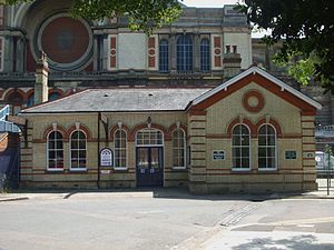 Alexandra Palace - Former Alexandra Palace station, dwarfed by the building itself. It is now a community centre.