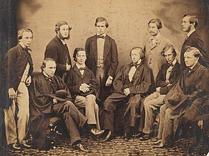Algernon Charles Swinburne - NPG P416. Algernon Charles Swinburne with nine of his peers at Oxford, ca. 1850s (James Bryce, 1st Viscount Bryce, Albert Venn Dicey, Thomas Hill Green, Sir Thomas Erskine Holland, John Warneford Hoole, George Rankine Luke, Aeneas James George MacKay, John Nichol, Joseph Frank Payne, Algernon Charles Swinburne)