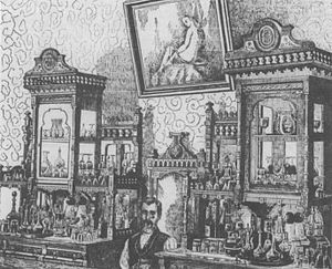 C. S. Fly - The Alhambra Saloon of Tombstone, Arizona Territory, in an engraving of a picture taken by C.S. Fly. The image first appeared in The Arizona Quarterly Illustrated in July 1880.