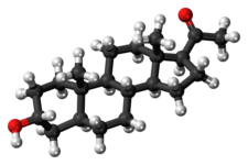 Ball-and-stick model of the allopregnanolone molecule