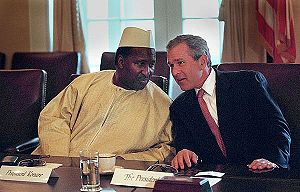 Foreign relations of the African Union - George W. Bush talks with Alpha Oumar Konaré, Chairperson of the African Union Commission during his meeting with African presidents in the Cabinet Room, Thursday, June 28, 2001.