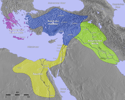 The Hittite Empire, ca. 1400 BC (shown in Blue).