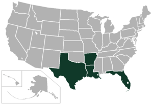 American South Conference - Image: American South Conference USA states