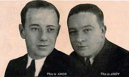 Freeman Gosden and Charles Correll of Amos 'n' Andy in 1929 Amos andy 1929 postcard.JPG